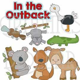 Animals in the Outback Clip Art