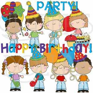 Birthday Party for Blue Jean Kids Clip Art