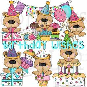 Birthday Peeking Bears Clip Art