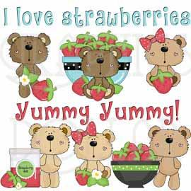 Goofy Bear Loves Strawberries Exclusive Clip Art