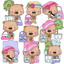 Teeny Bears Go Shopping Clip Art